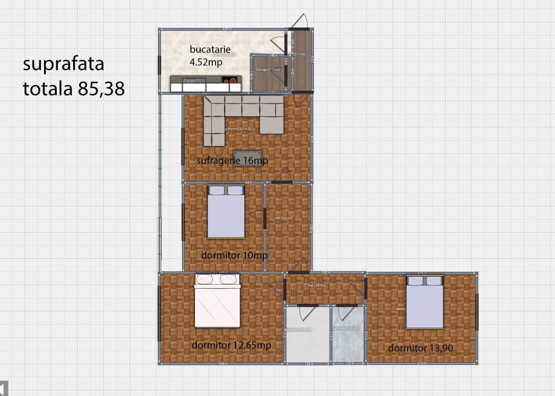 Apartament 4 camere, Spatios, Pantelimon